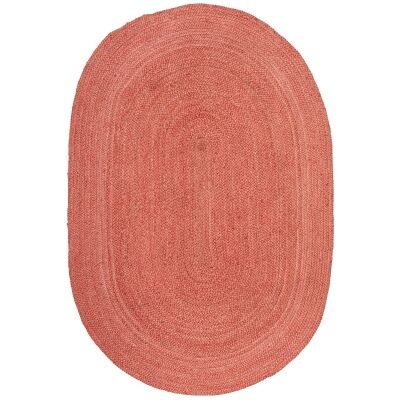 Bondi Hand Braided Jute Oval Rug, 280x190cm, Terracotta