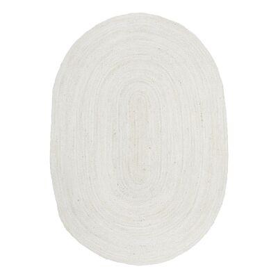 Bondi Hand Braided Jute Oval Rug, 220x150cm, White