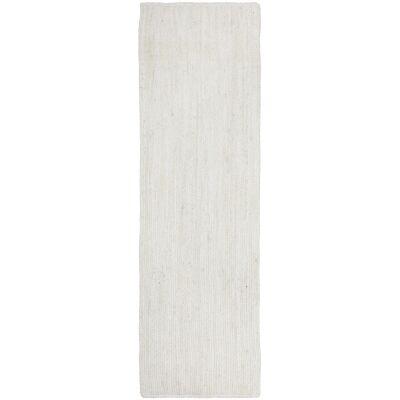 Bondi Hand Braided Jute Runner Rug, 300x80cm, White