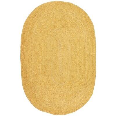 Bondi Hand Braided Jute Oval Rug, 220x150cm, Yellow