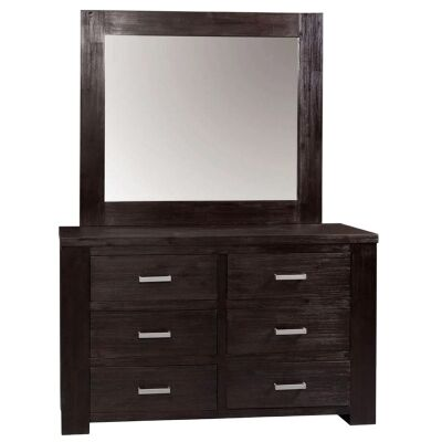 Radnor Acacia Timber 6 Drawer Dresser with Mirror