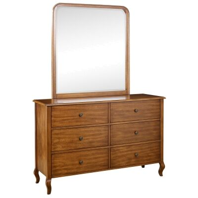 Jacob American Poplar Timber 6 Drawer Dresser with Mirror