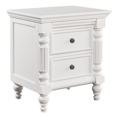 Fitzroy Poplar Timber Bedside Table, Distressed White