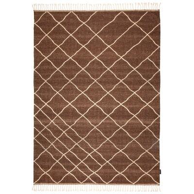 Berber Kilim Handcrafted Wool Rug, 230x160cm, Brown