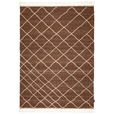 Berber Kilim Handcrafted Wool Rug, 280x200cm, Brown