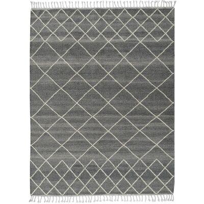 Berber Kilim Handcrafted Wool Rug, 230x160cm, Charcoal