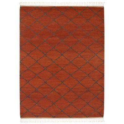 Berber Kilim Handcrafted Wool Rug, 230x160cm, Rust