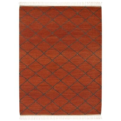 Berber Kilim Handcrafted Wool Rug, 350x250cm, Rust