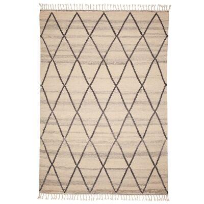 Berber Kilim Handcrafted Wool Rug, 230x160cm, White