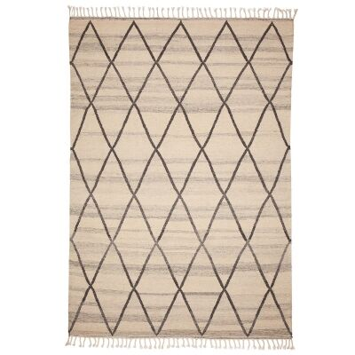 Berber Kilim Handcrafted Wool Rug, 280x200cm, White