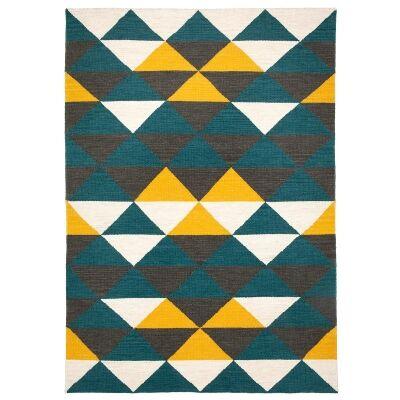 Beni Handwoven Wool Rug, 120x75cm, Petrol