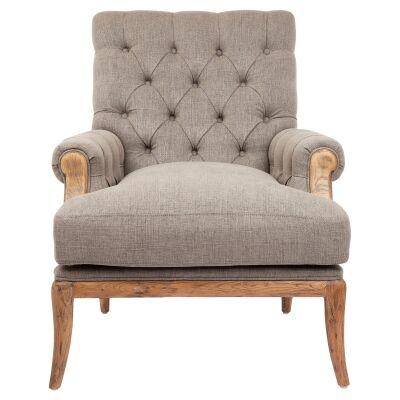 Martinique Linen & Oak Timber Armchair, Grey