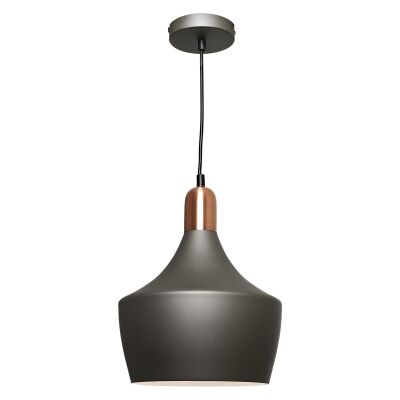 Bevo Metal Pendant Light, Cup, Charcoal / Copper