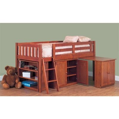Colt Solid Pine Timber Single Cabin Bunk Bed  Teak Stain