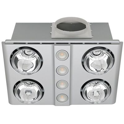 Magnus Quattro Bathroom Heater with Exhaust and Light, Silver