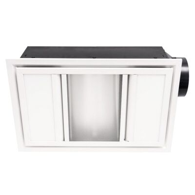 Domino 3-in-1 Bathroom Heater with Exaust & LED Panel Light, White