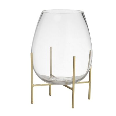 Allegra Glass Vase on Metal Stand, Small