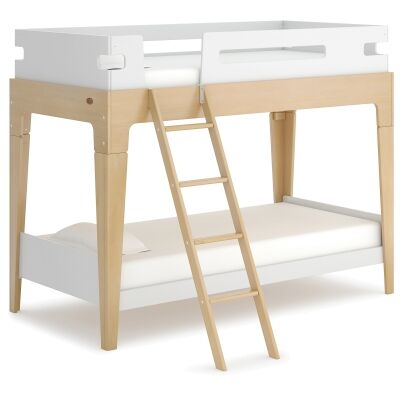Boori Tidy Wooden Bunk Bed, Single, Barley White / Almond