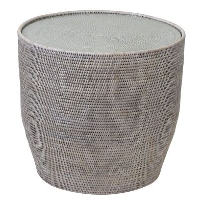 Savannah Rattan Round Side Table with Glass Top, White Wash