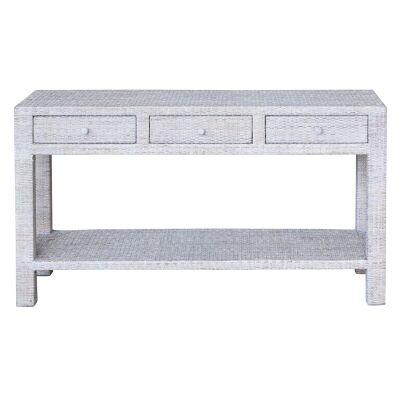 Savannah Rattan Console Table, 150cm, White Wash
