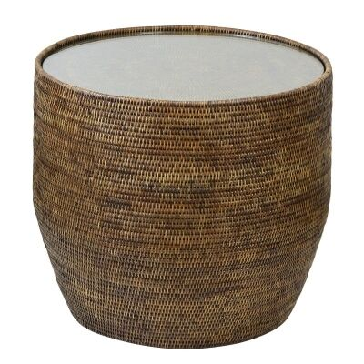 Savannah Rattan Round Side Table with Glass, Tobacco