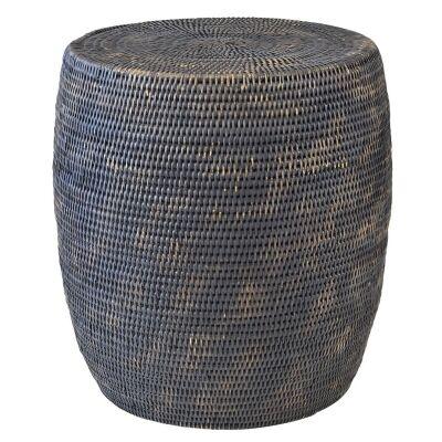 Savannah Rattan Drum Side Table, Charcoal