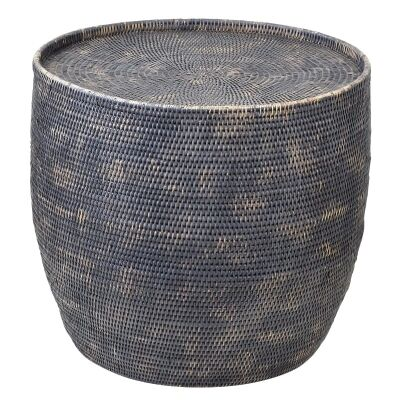 Savannah Rattan Round Side Table, Charcoal