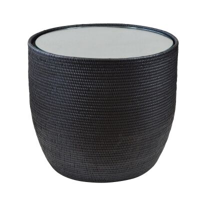 Savannah Glass Topped Rattan Round Side Table, Black