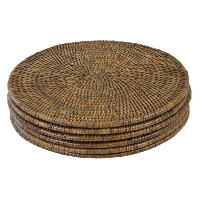 Savannah Rattan Round Table Placemat, Set of 6, Tobacco