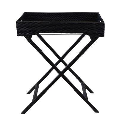 Savannah Rattan Butlers Tray Table, Black