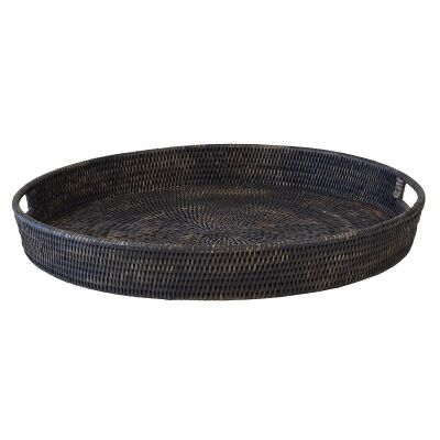 Savannah Rattan Tray, Round, Large, Charcoal