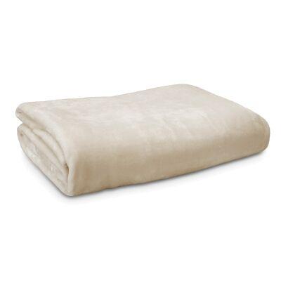 Ardor Boudoir Lucia Luxury Velvet Plush Blanket, 240x245cm, Ivory