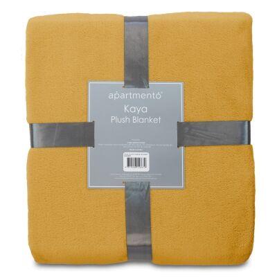 Apartmento Kaya Flannel Plush Blanket, 203x228cm, Mustard