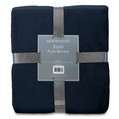 Apartmento Kaya Flannel Plush Blanket, 203x228cm, Navy