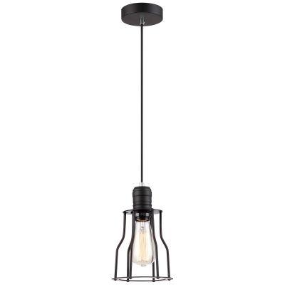 Blackband Iron Caged Pendant Light, Funnel, Black