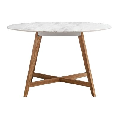 Blanco Marble Topped Round Dining Table, 120cm