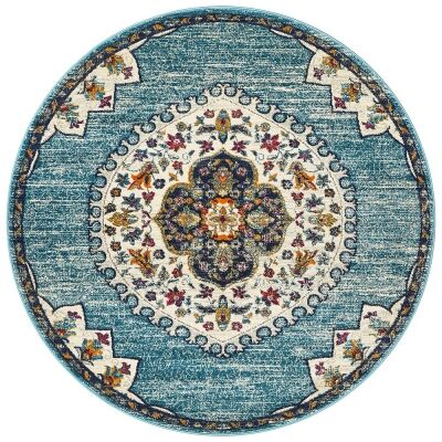 Babylon Chantilly Bohemian Round Rug, 150cm, Blue