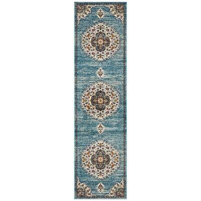 Babylon Chantilly Bohemian Runner Rug, 80x400cm, Blue