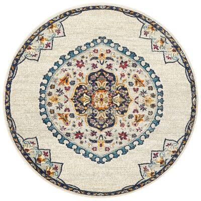 Babylon Chantilly Bohemian Round Rug, 150cm, White