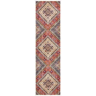 Babylon Diamond Bohemian Runner Rug, 80x500cm, Multi