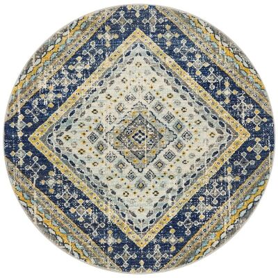 Babylon Diamond Bohemian Round Rug, 200cm, Navy