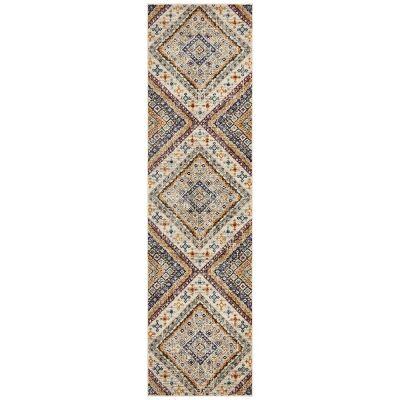 Babylon Diamond Bohemian Runner Rug, 80x300cm, White