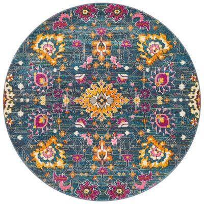 Babylon Viridis Bohemian Round Rug, 240cm, Blue