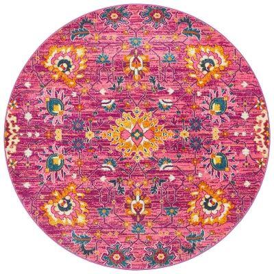 Babylon Viridis Bohemian Round Rug, 240cm, Fuchsia