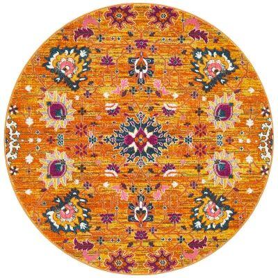 Babylon Viridis Bohemian Round Rug, 200cm, Rust