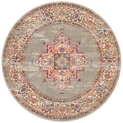 Babylon Zenovia Bohemian Round Rug, 240cm, Grey