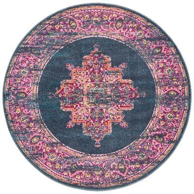 Babylon Zenovia Bohemian Round Rug, 150cm, Navy