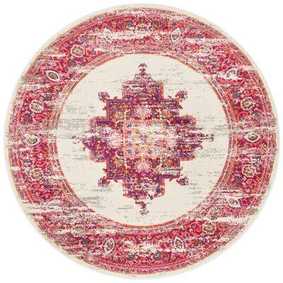 Babylon Zenovia Bohemian Round Rug, 150cm, Pink
