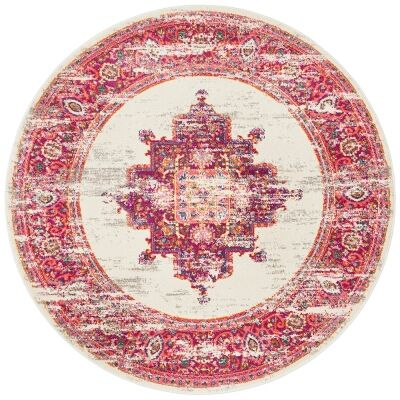 Babylon Zenovia Bohemian Round Rug, 200cm, Pink