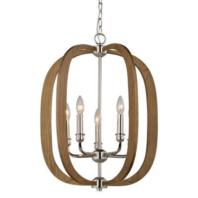 Bolton Wooden Frame Pendant Light, Oak